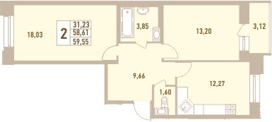 2-к.кв, 61.73 м²