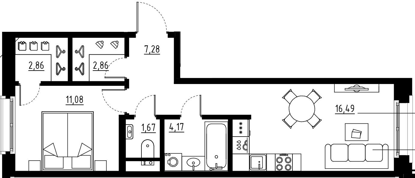 2Е-комнатная, 46.41 м²– 2