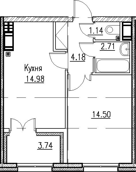 2-к.кв (евро), 41.22 м²