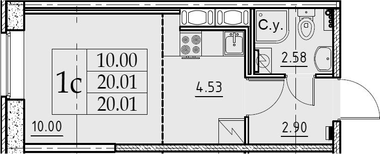 Студия, 20.01 м²– 2