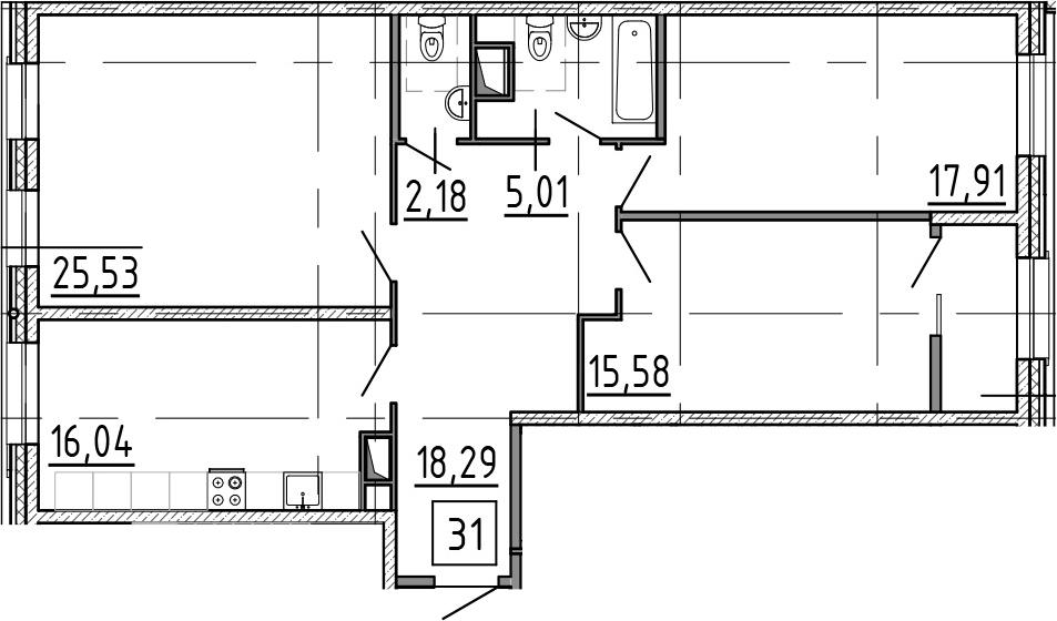 3-к.кв, 104.08 м²