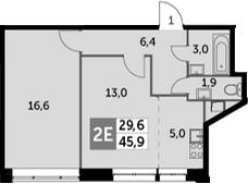 2Е-к.кв, 45.9 м², 2 этаж