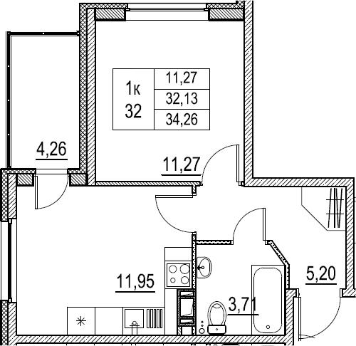 1-к.кв, 34.26 м²