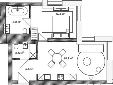 2Е-комнатная, 52.8 м²– 2