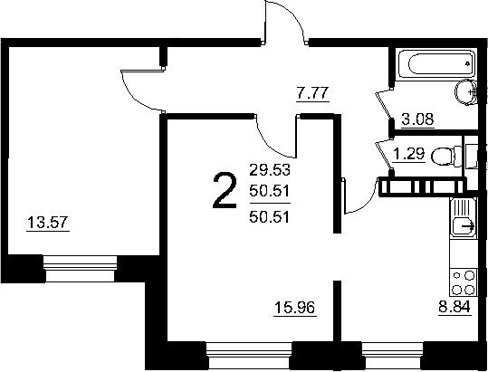 2-к.кв, 50.3 м²