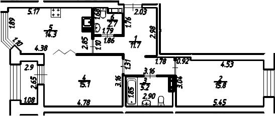 2-к.кв, 66.3 м², 11 этаж
