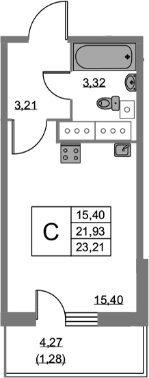 Студия, 23.21 м²– 2
