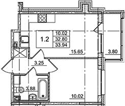 2Е-комнатная, 33.94 м²– 2