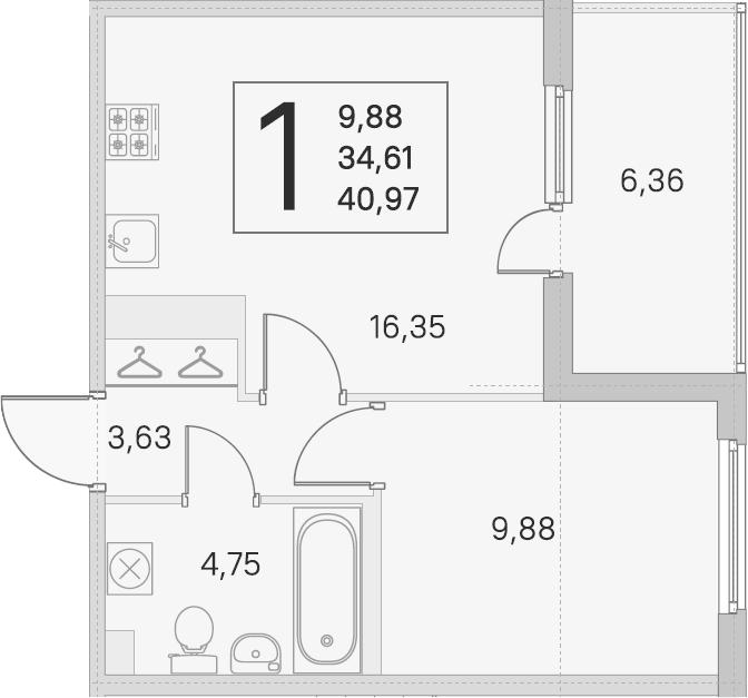 2Е-к.кв, 34.61 м²