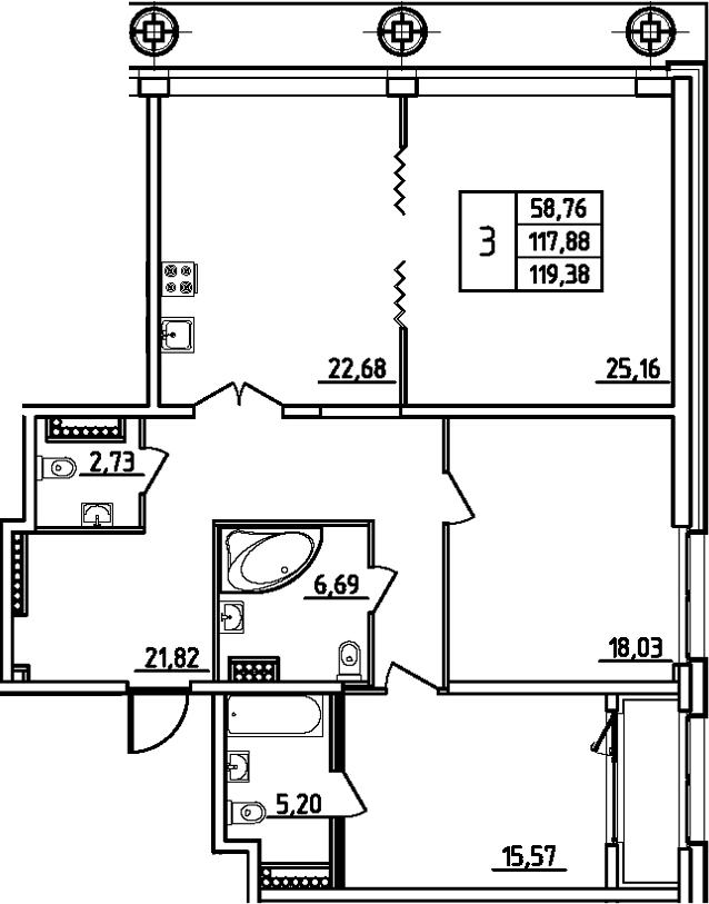 4Е-комнатная, 119.38 м²– 2