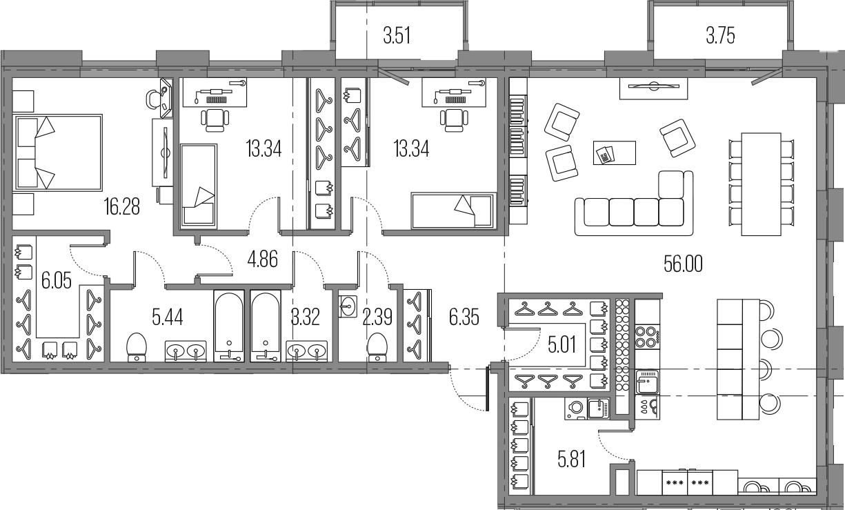 4Е-к.кв, 138.19 м²