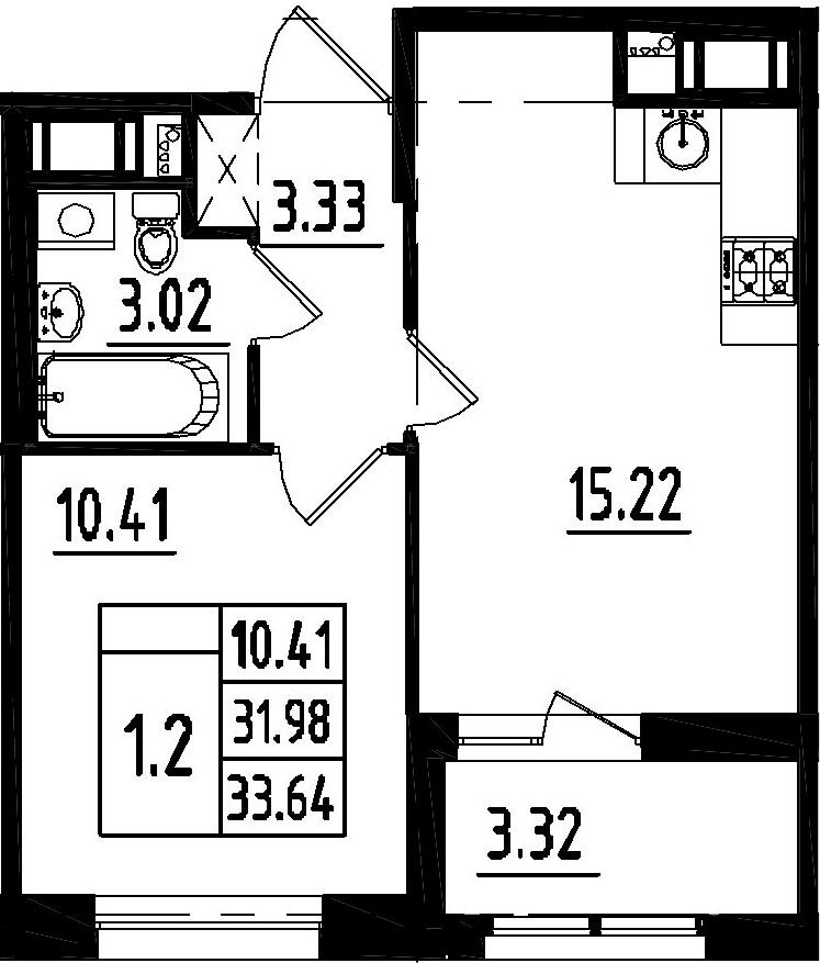 2Е-комнатная, 31.98 м²– 2