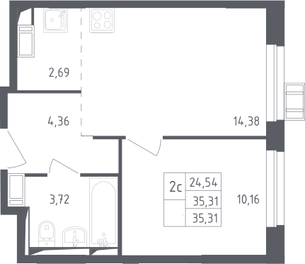 2Е-комнатная квартира, 35.31 м², 13 этаж – Планировка