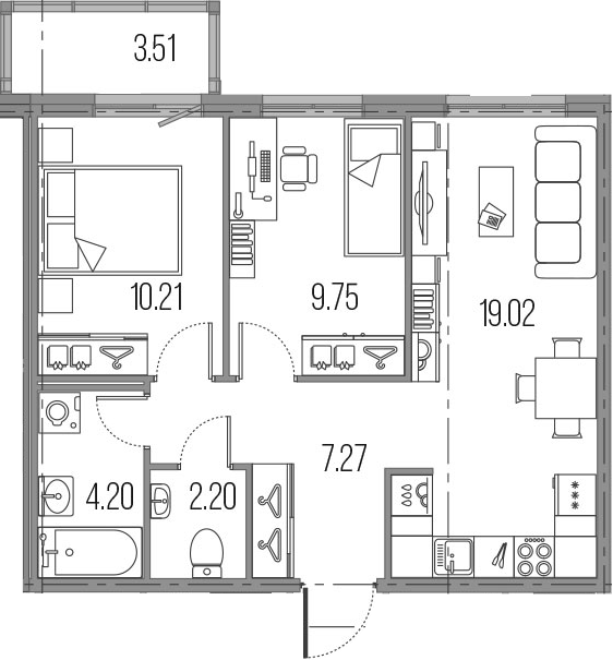 3-к.кв (евро), 56.16 м²