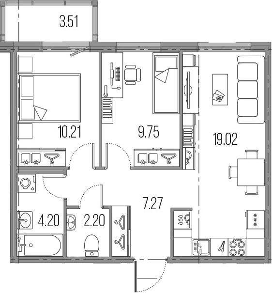 3Е-к.кв, 52.65 м²