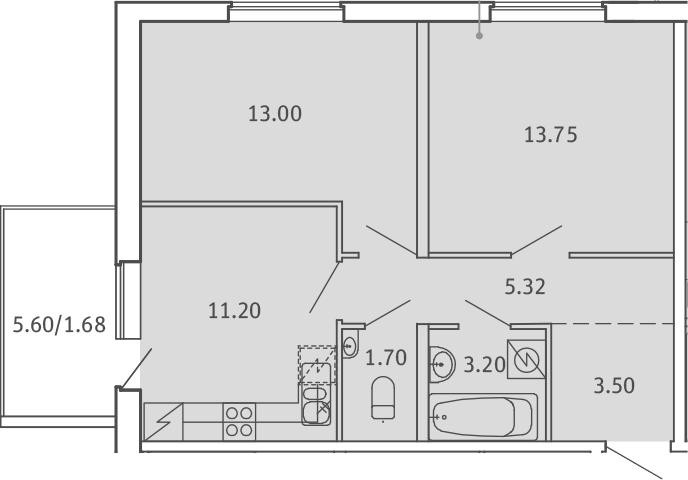 2-комнатная, 53.35 м²– 2