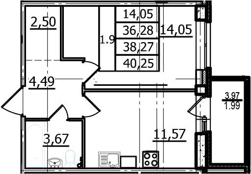 1-к.кв, 36.28 м², 2 этаж
