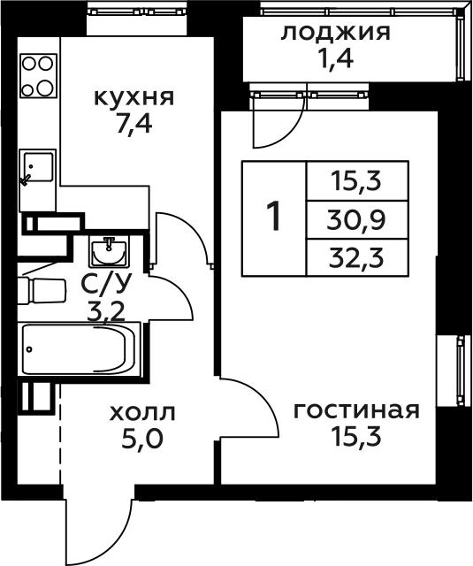 1-к.кв, 32.3 м², 9 этаж