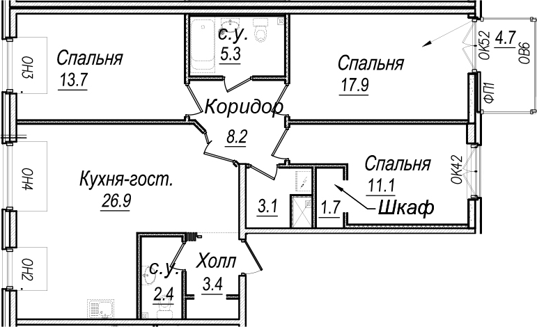 4Е-к.кв, 102.7 м²