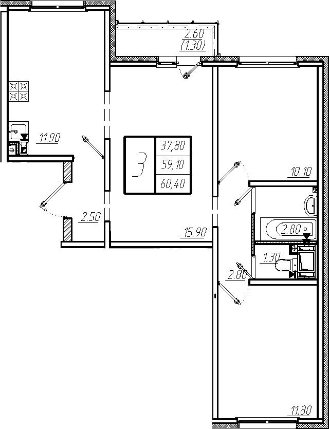 3-к.кв, 60.4 м²