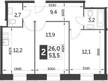 2-комнатная, 53.5 м²– 2
