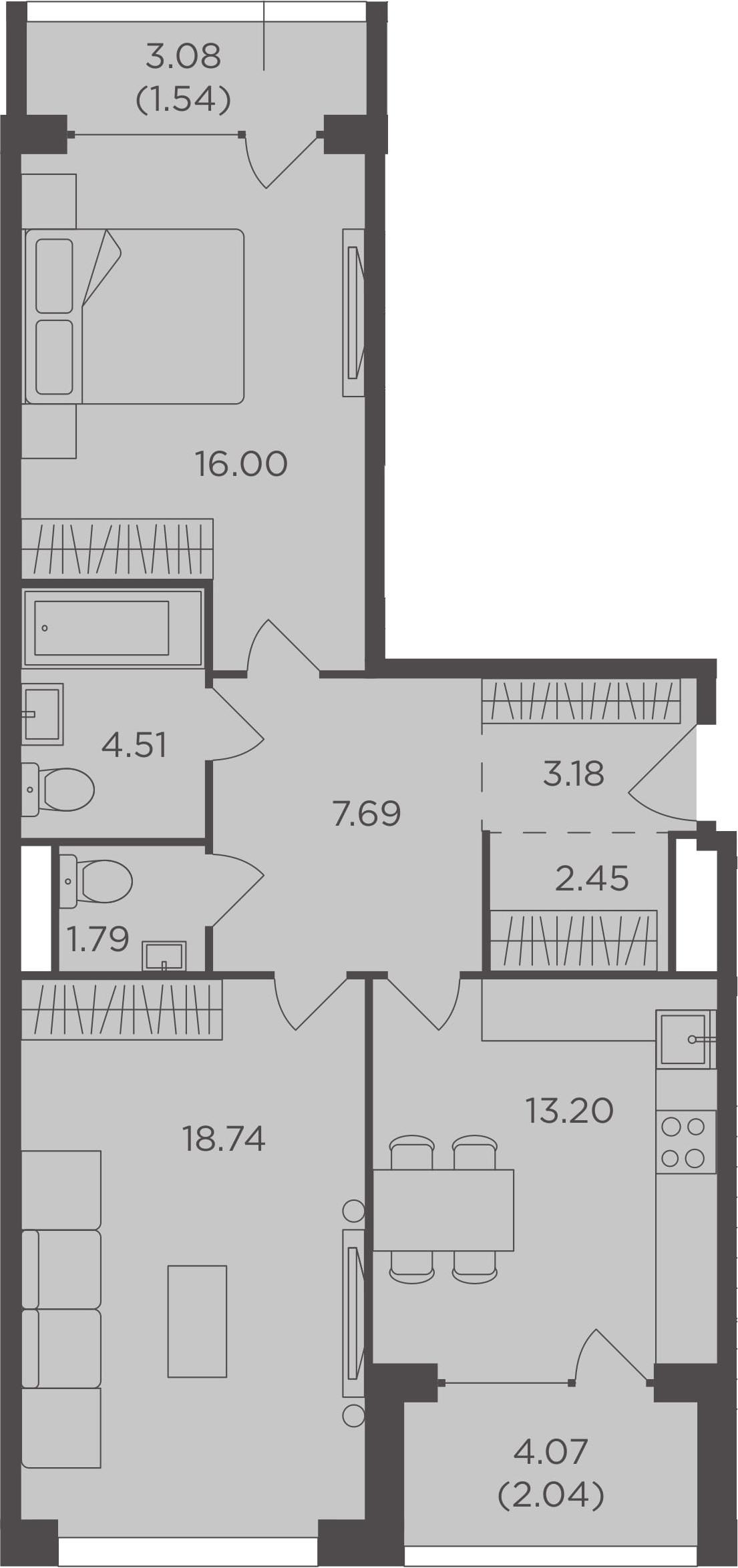 2-комнатная, 71.14 м²– 2