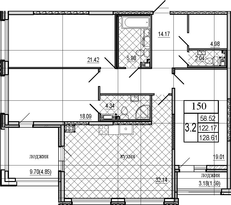 4Е-комнатная квартира, 128.61 м², 6 этаж – Планировка