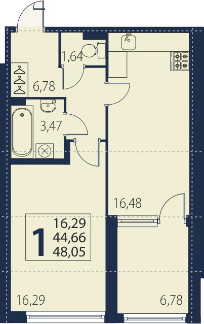 2Е-комнатная, 44.66 м²– 2