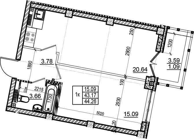2Е-комнатная, 44.26 м²– 2