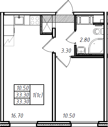 2Е-к.кв, 33.3 м², 6 этаж