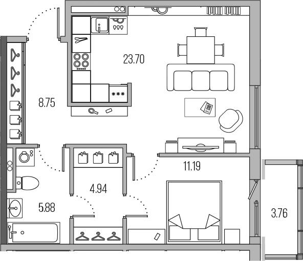 2-к.кв (евро), 58.22 м²