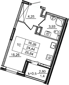 Студия, 25.84 м²– 2