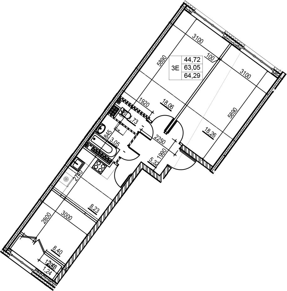 3Е-комнатная, 64.29 м²– 2