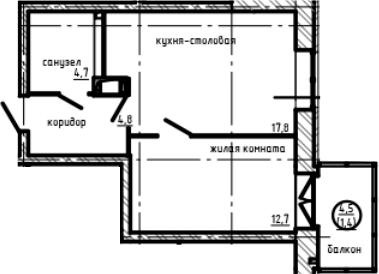 1-к.кв, 44.67 м²