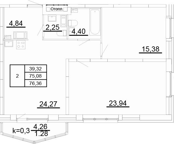 3Е-к.кв, 76.36 м², 2 этаж
