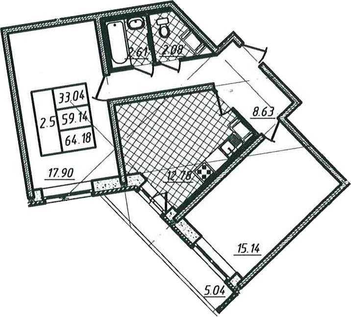 2-к.кв, 59.14 м²