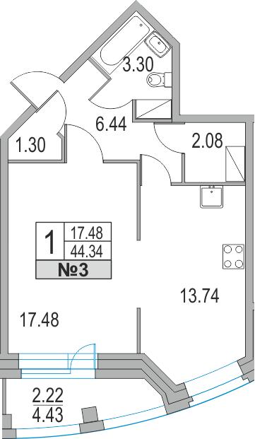 1-комнатная, 44.34 м²– 2