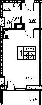 Студия, 26.54 м², 2 этаж – Планировка