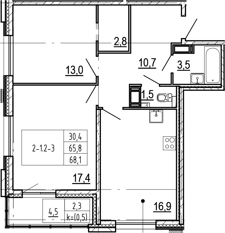 2-к.кв, 70.4 м²