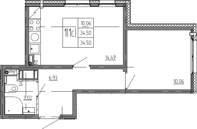 2Е-комнатная, 34.5 м²– 2