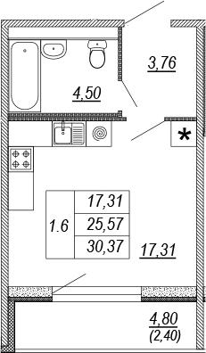 Студия, 25.57 м², от 10 этажа