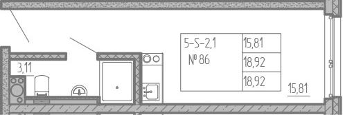 Студия, 18.92 м², от 13 этажа