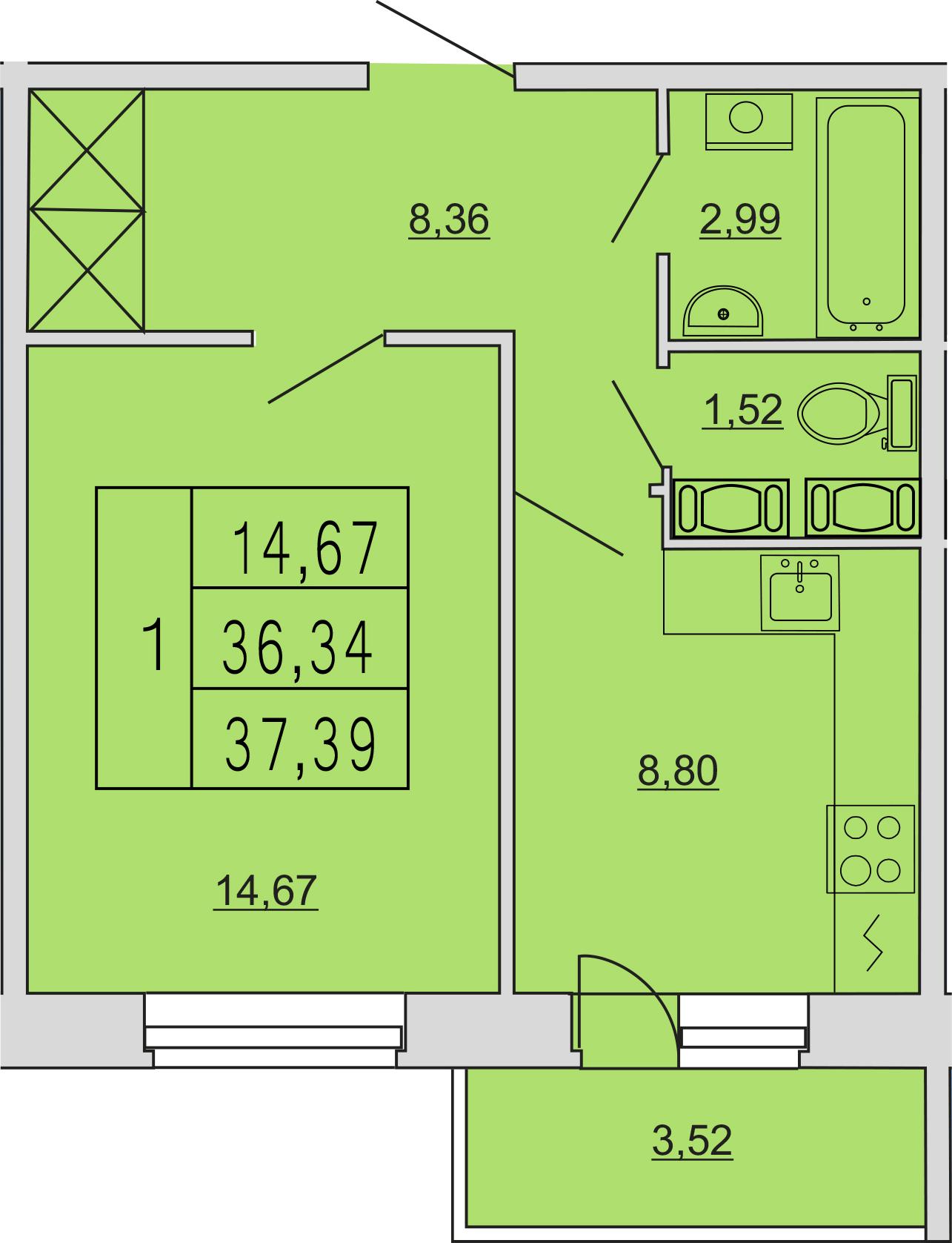 1-к.кв, 40.33 м²