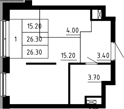 Студия, 26.3 м²