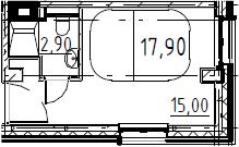Студия, 17.9 м²– 2