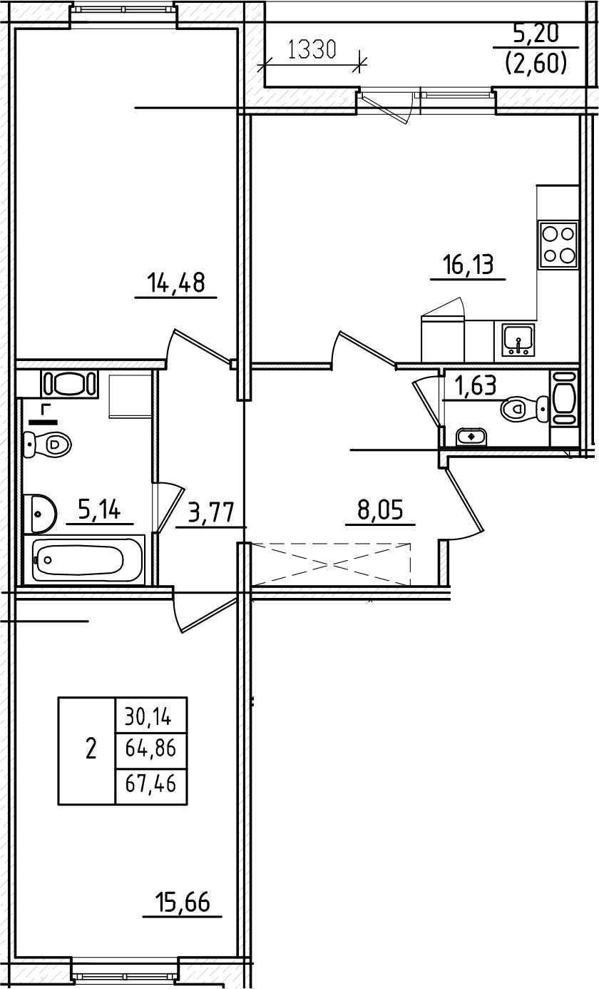 3Е-к.кв, 67.46 м², 8 этаж
