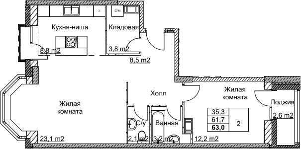 2Е-комнатная, 63 м²– 2