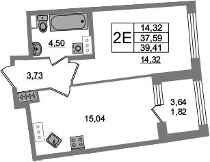 2Е-комнатная, 37.59 м²– 2