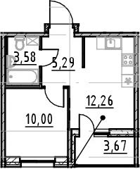 1-к.кв, 31.13 м², от 7 этажа