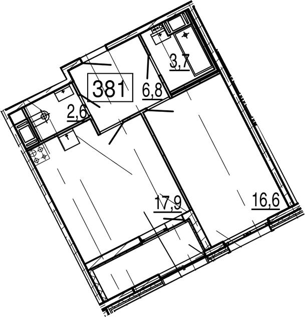2Е-комнатная квартира, 49.9 м², 11 этаж – Планировка